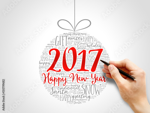 Happy New Year 2017, Christmas ball word cloud, holidays lettering