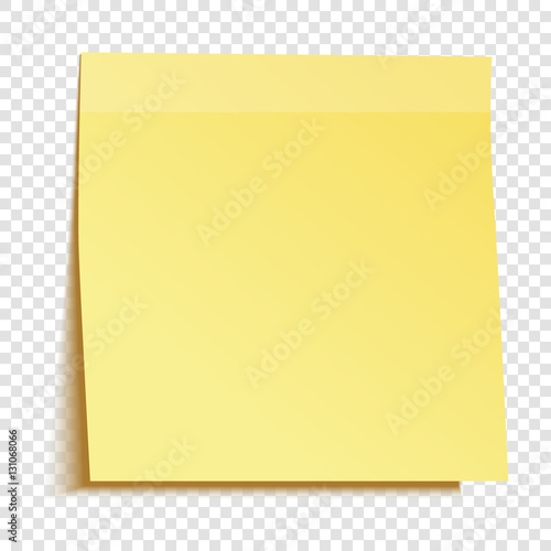 Yellow sticky note isolated on transparent background Template for