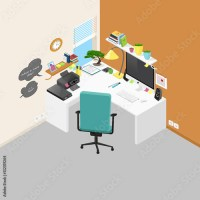 """Vector isometric office workplace with objects and ..."