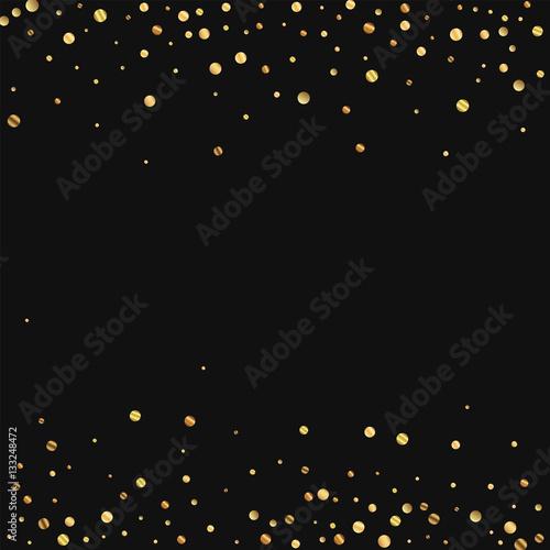 Sparse gold confetti Scattered border on black background Vector - black border background