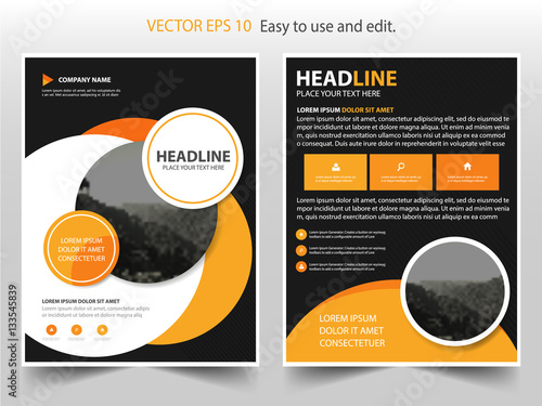 Yellow Black Circle Vector business proposal Leaflet Brochure Flyer - black flyer template