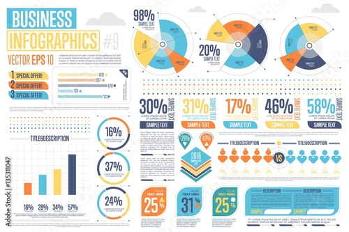Business infographics set with different diagram vector illustration
