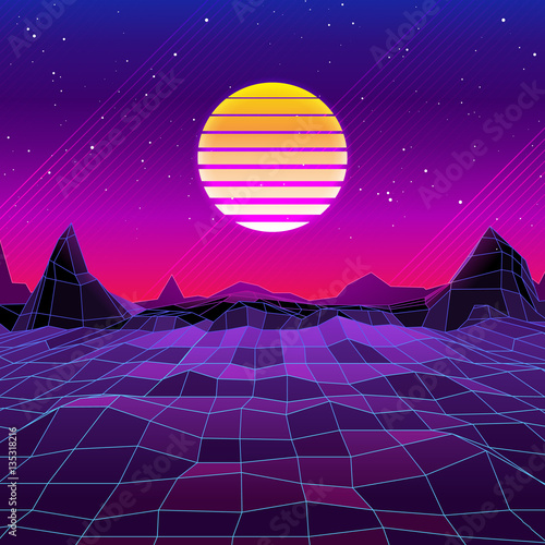 Hd Wallpapers Quot 80s Retro Sci Fi Background Vector Retro Futuristic