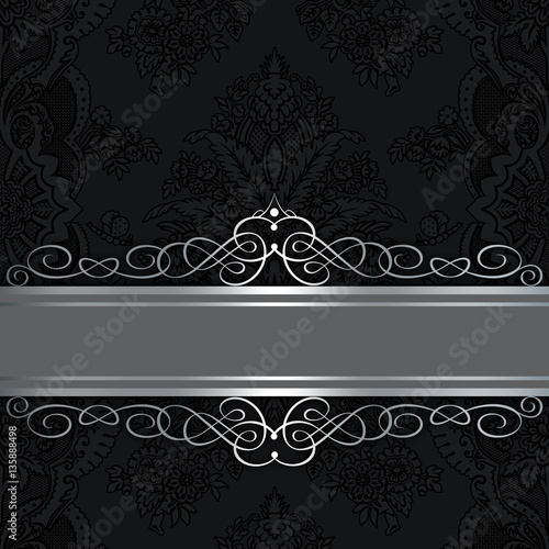 Black vintage background with elegant border and patterns\ - black border background