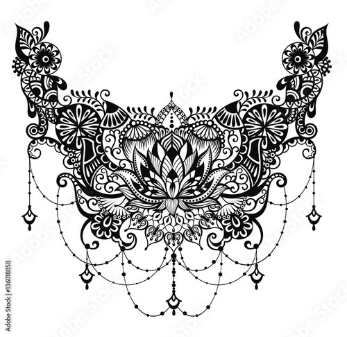 Lotus tattoo Template for tattoo design with mehndi elements