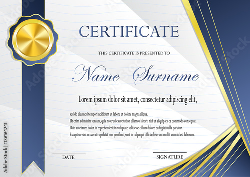 Certificate with gold medal template Fashionable modern geometry - gold medal templates