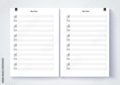Music stave template, Blank stave note paper Blank music note p