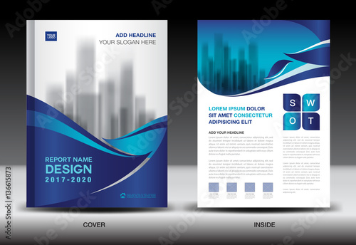 Annual report brochure flyer template, Blue cover design, business - company profile templates
