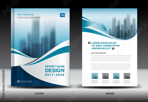 Annual report brochure flyer template, Blue cover design, business - business newsletter
