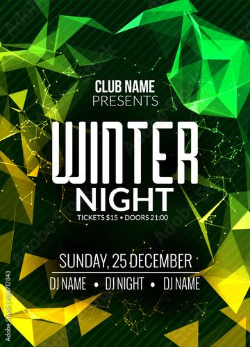 Dance party, dj battle poster design Winter disco party Music