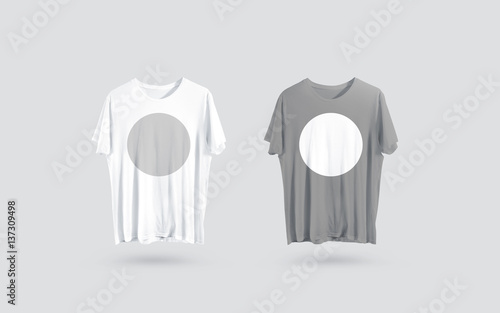 Blank grey and white t-shirt front side view, design mockup Clear