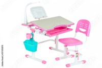 """Pink chair, pink school desk, blue basket and desk lamp ..."