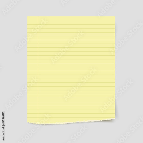 Vector blank sheet of torn yellow lined paper\