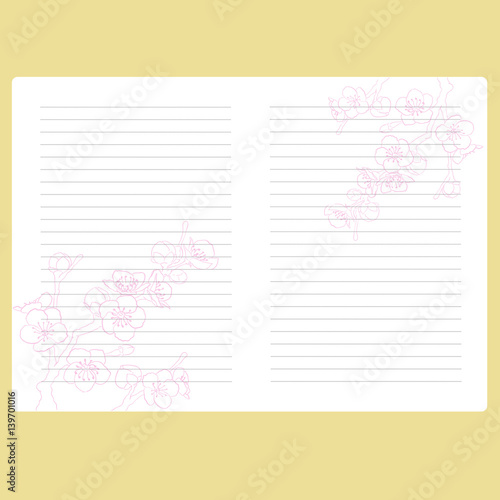 Template notepad Note book Page with space for text Paper for - diary paper template