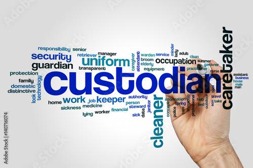 Custodian word cloud concept on grey background\