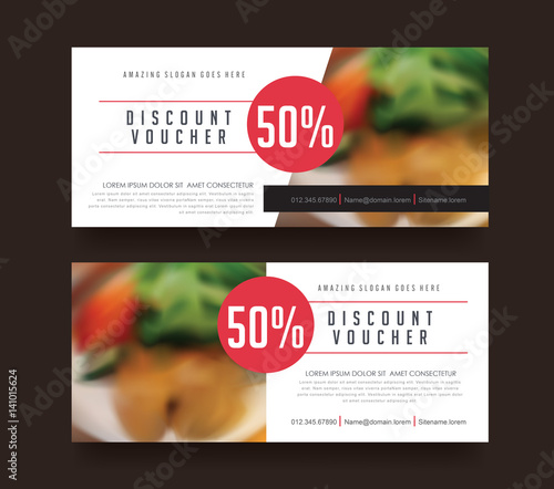 Gift voucher template with luxury patternRestaurant voucher Vector - Lunch Voucher Template