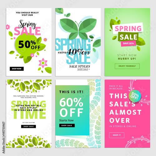 Spring social media sale banners Vector illustrations of online