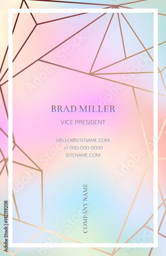 Pink blush business card with a geometric pattern Bronze polygonal