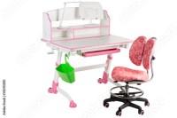 """Pink chair, pink school desk, green basket and desk lamp ..."