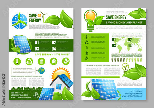 Saving energy brochure template for eco design\ - pricing brochure template