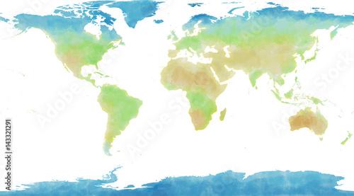 Cartina mondo, disegnata illustrata pennellate, cartina geografica