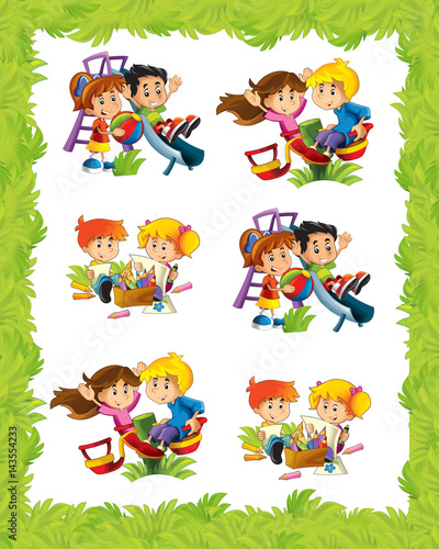 cartoon frame with children playing in different situations\ - cartoon children play