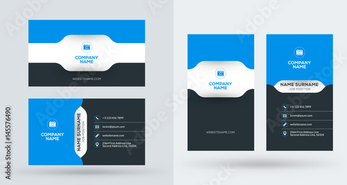 Double-sided creative business card template Portrait and landscape - portrait business card
