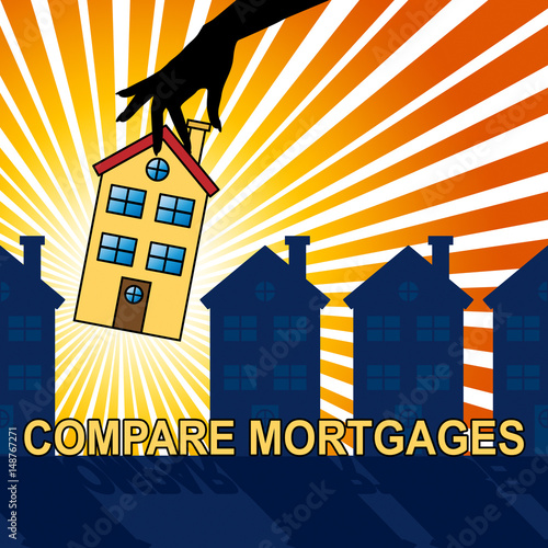 Compare Mortgages Shows Home Loan 3d Illustration\