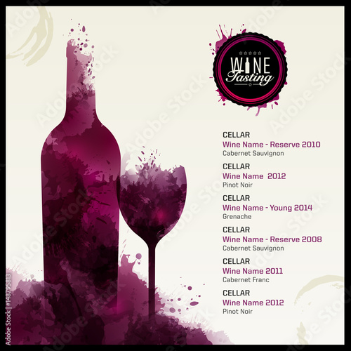 Template list or wine tasting Illustration of wine glass and bottle - free wine list template