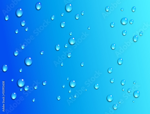 Water Droplets on a Faded Blue Background\ - water droplets background