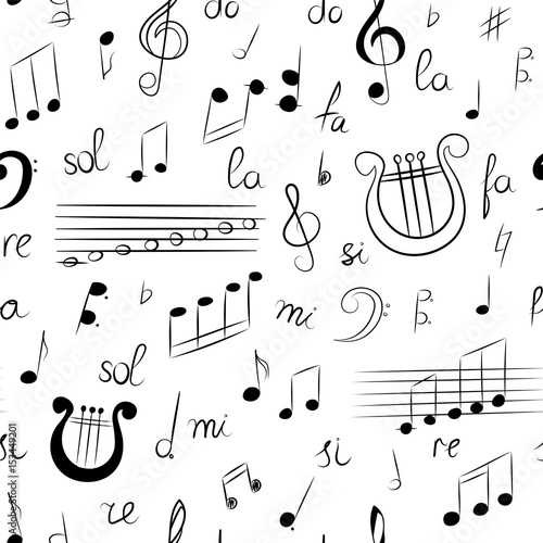 Seamless Pattern of Hand Drawn Set of Music Symbols Doodle Treble
