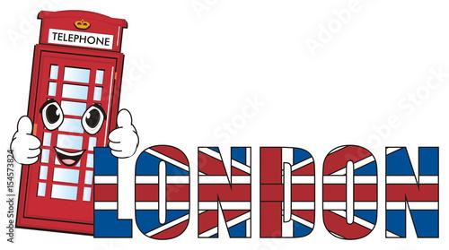 London, England, UK, Britain, travel, symbol, cartoon, illustration - word flag