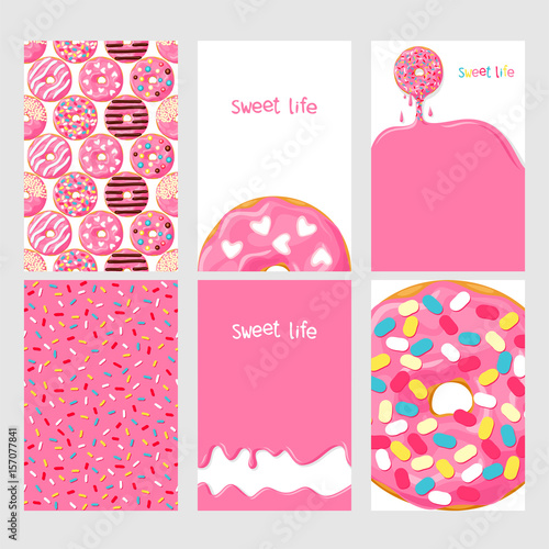 Set of bright food cards Set of donuts with pink glaze Donut