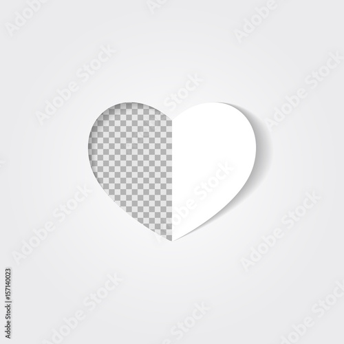 A hole in the shape of a half heart isolated on a transparent