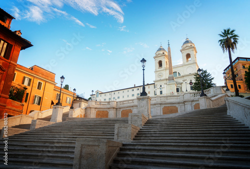 Quotfamous Spanish Steps With Basilica Rome Italy Retro