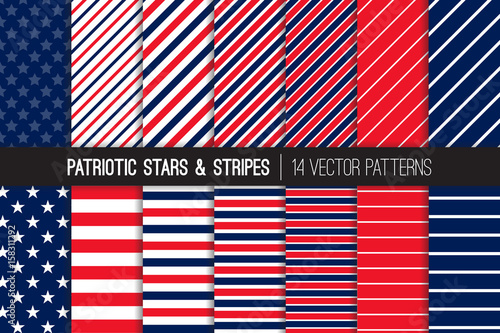 Patriotic Red White Blue Stars  Stripes Vector Patterns July 4th