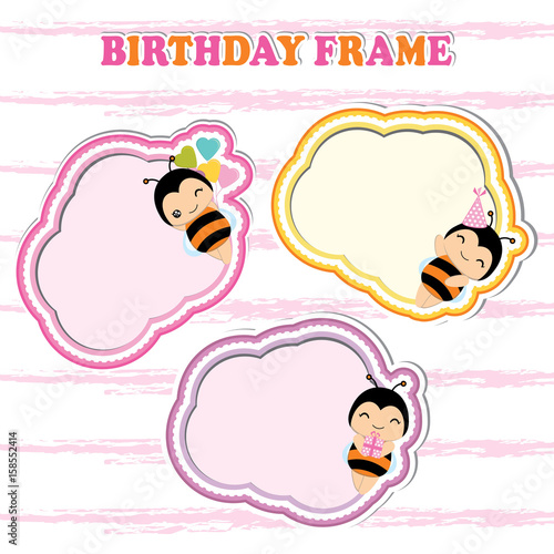 Birthday frames with cute bees on colorful frame suitable for