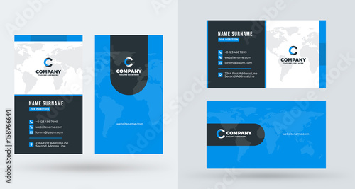 Double-sided creative business card template Portrait and landscape