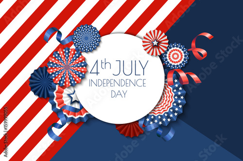 4th of July, USA Independence Day vector banner template Color - 4th of july template