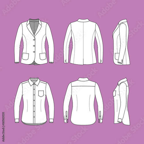 Womens clothing set Blank template of classic blazer and shirt in - blank fashion design templates