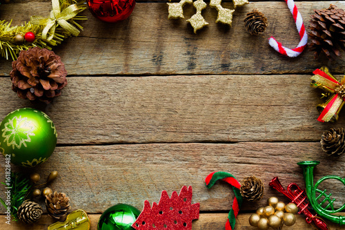 Christmas theme background in vintage tone Rustic wood background - christmas theme background