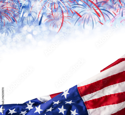 America flag and bokeh background with firework and copy space for
