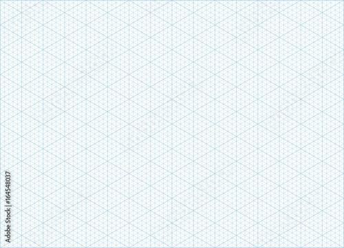 Blue vector isometric grid graph paper accented every 5 steps A4 - free isometric paper