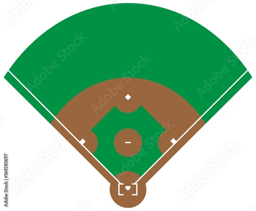 Flat green Baseball grass field Baseball base with line template - baseball field template