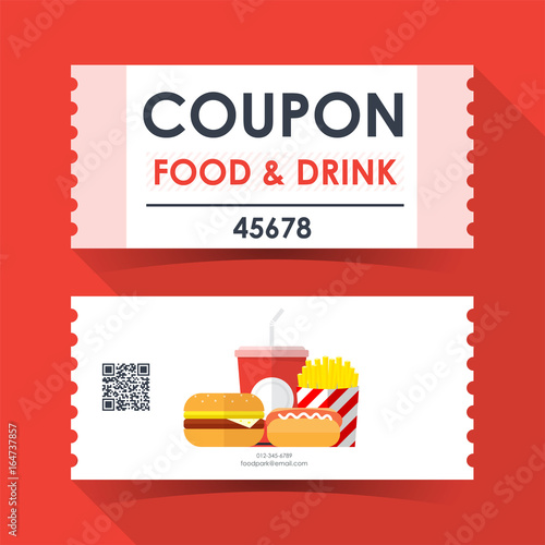 Coupon food and drink ticket card Element template for graphics