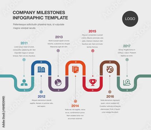 Vector Infographic Company Milestones Timeline Template\