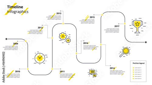 Business timeline workflow infographics Corporate milestones