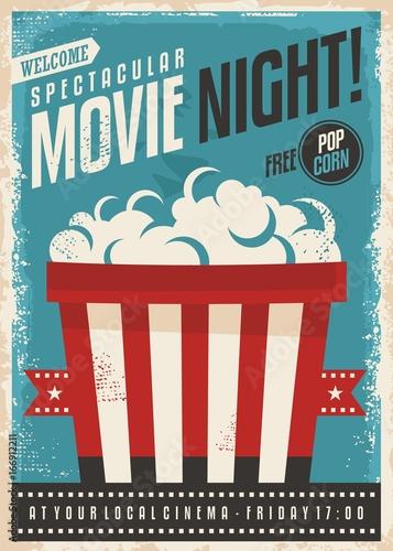 Movie cinema night retro poster design Popcorn graphic with film