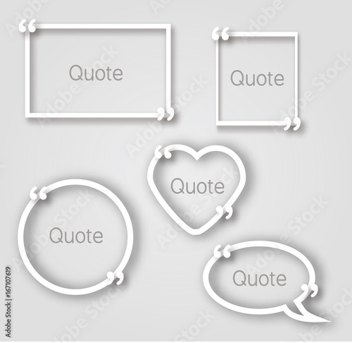 White quote bubble paper frames in realistic style Different shapes
