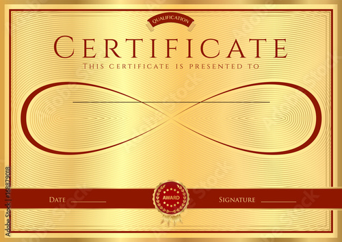 Certificate, Diploma of completion (design template) with gold frame
